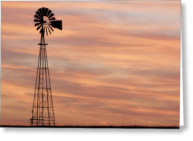 Sunset And Windmill 05 Greeting Card