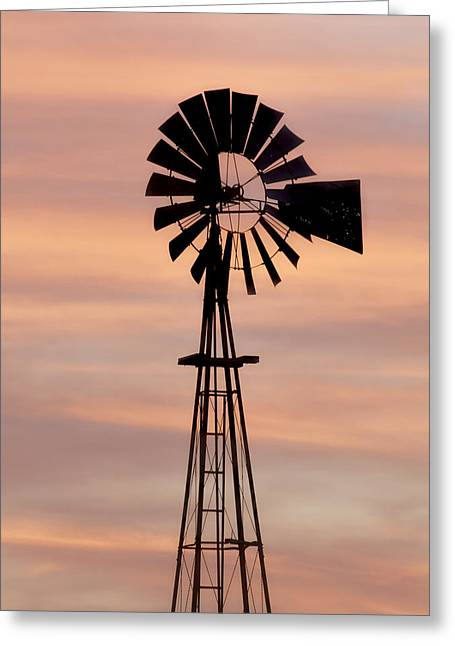Sunset And Windmill 06 Greeting Card