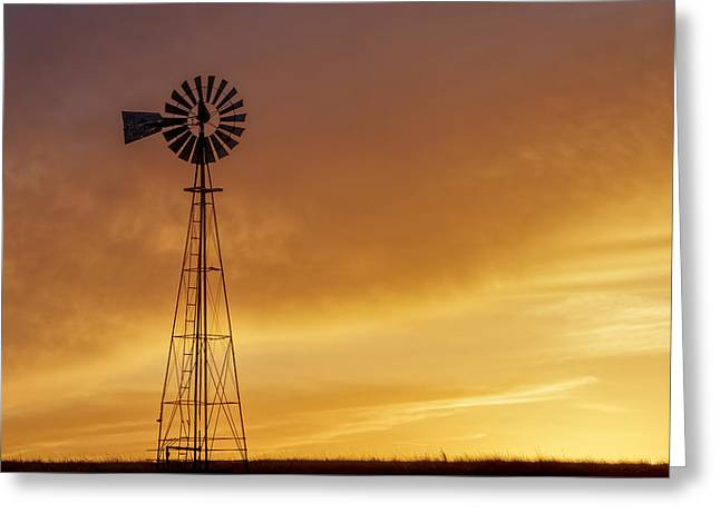 Greeting Card featuring the photograph Sunset And Windmill 09 by Rob Graham