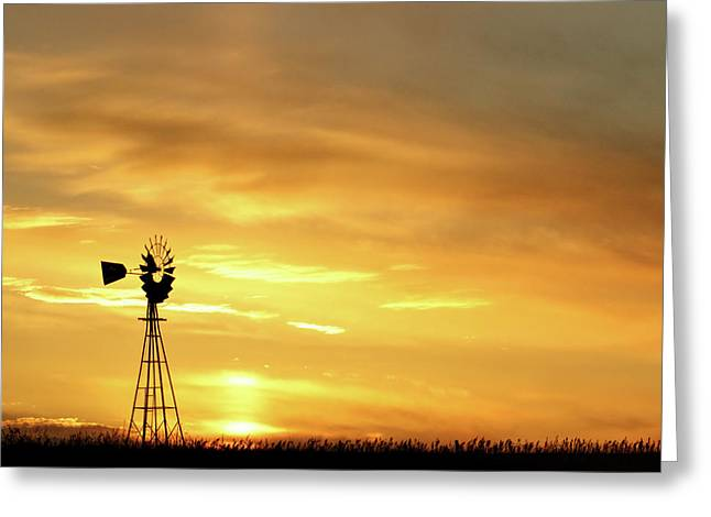 Greeting Card featuring the photograph Sunset And Windmill 11 by Rob Graham