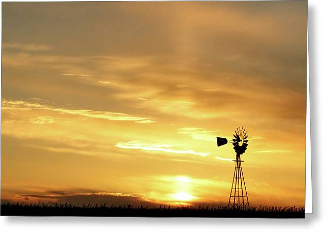 Greeting Card featuring the photograph Sunset And Windmill 13 by Rob Graham