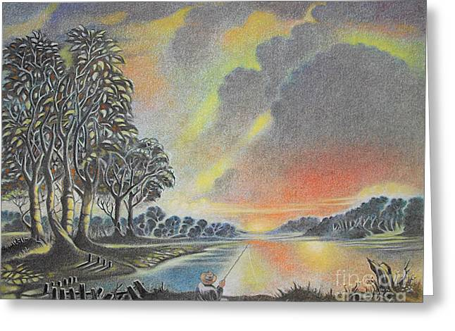 Sunset Angler Greeting Card