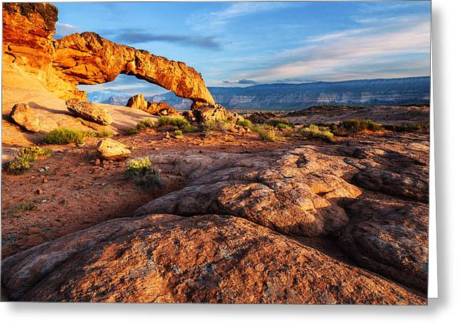 Holes In Sandstone Greeting Cards - Sunset Arch - 3 Greeting Card by Alex Mironyuk