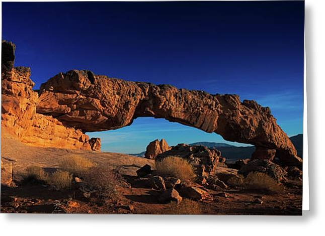 Greeting Card featuring the photograph Sunset Arch Pano by Edgars Erglis