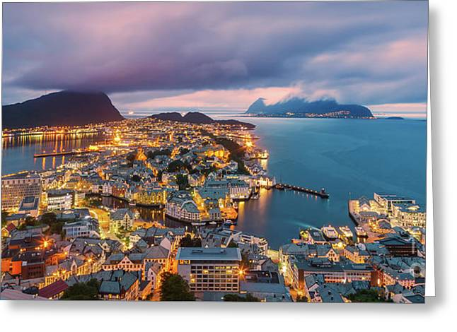Sunset At Alesund, Norway Greeting Card