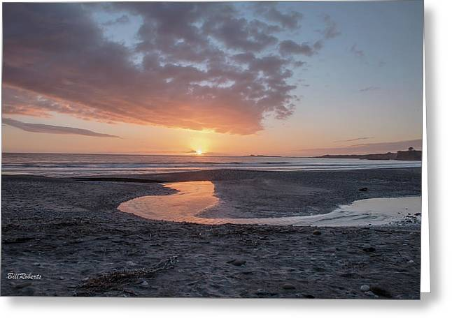 Sunset At Ano Nuevo Greeting Card by Bill Roberts