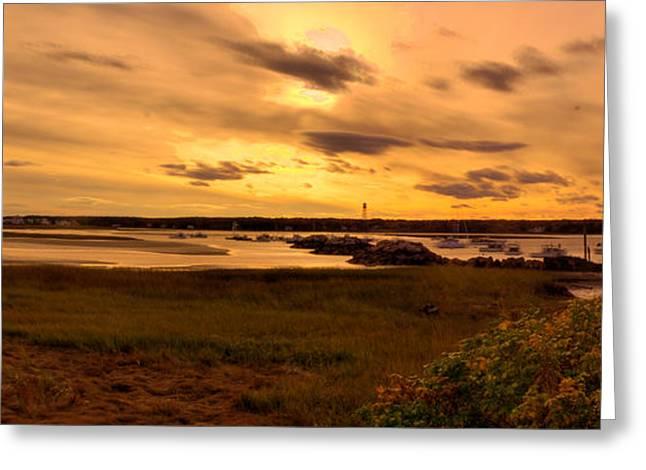 Sunset At Biddeford Pool Greeting Card by David Bishop