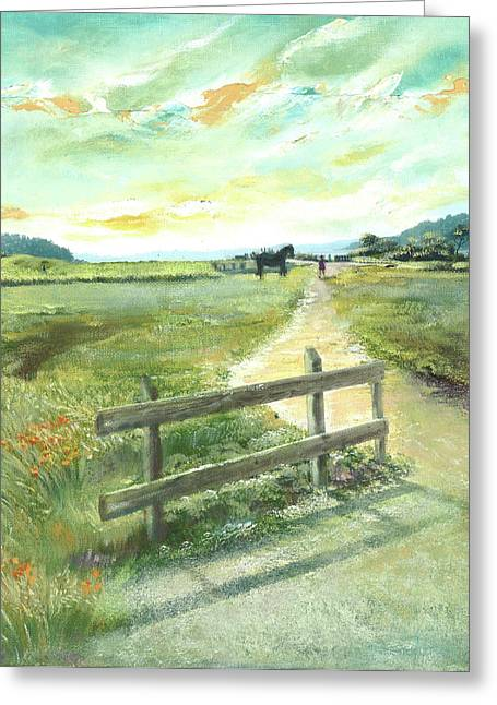 Sunset At Blackie's Pasture Greeting Card by Graciela Placak