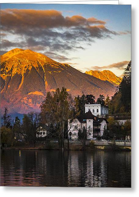 Sunset At Bled Greeting Card