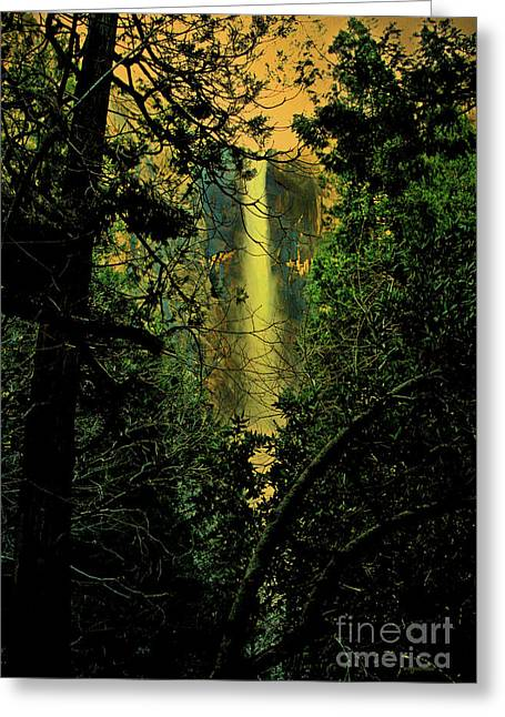 Sunset At Bridalveil Fall Greeting Card by Wingsdomain Art and Photography