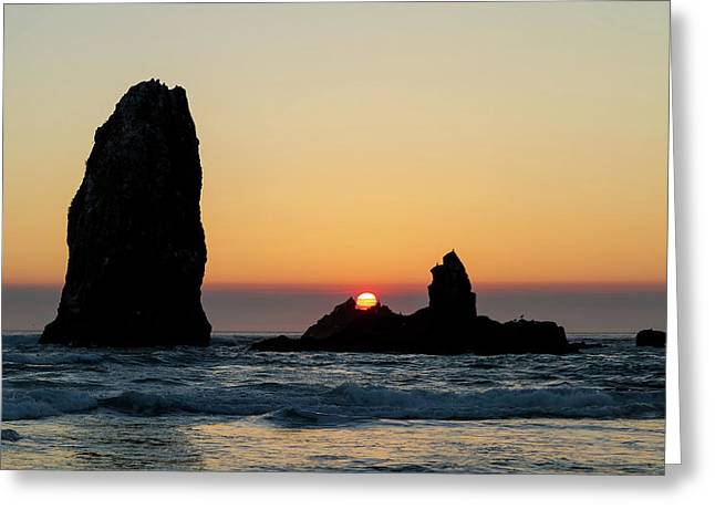 Sunset At Cannon Beach Greeting Card by David Gn