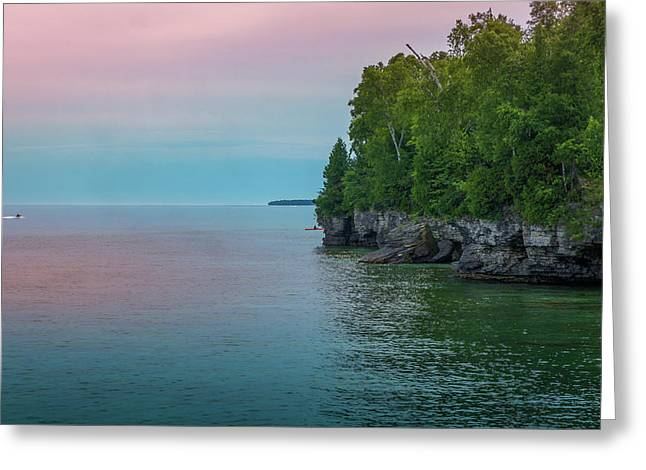 Sunset At Cave Point County Park Greeting Card