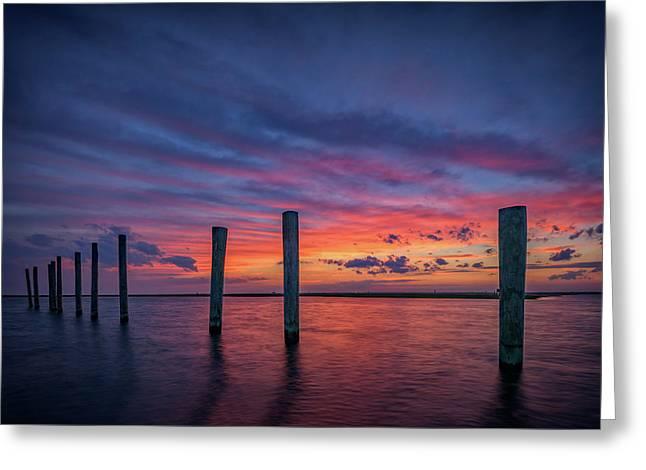 Sunset At Cedar Beach Marina Greeting Card