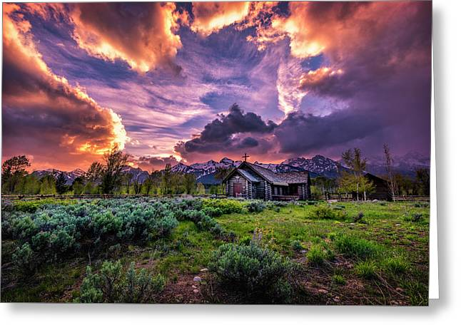 Sunset At Chapel Of Tranquility Greeting Card by Michael Ash