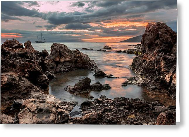 Greeting Card featuring the photograph Sunset At Charley Young Beach by Susan Rissi Tregoning