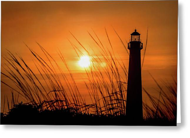Sunset At Cm Lighthouse Greeting Card