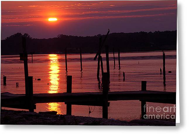 Sunset At Colonial Beach Greeting Card by Clayton Bruster