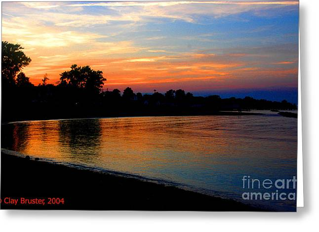 Sunset At Colonial Beach Cove Greeting Card by Clayton Bruster