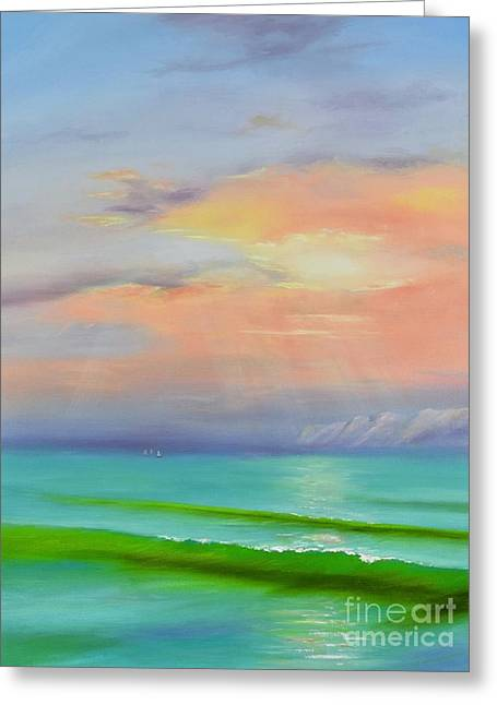 Greeting Card featuring the painting Sunset At Dana Point  by Mary Scott