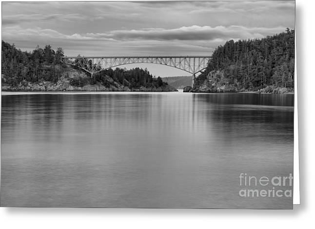 Sunset At Deception Pass - Black And White Greeting Card by Adam Jewell