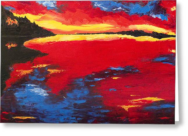 Sunset At Degray Greeting Card by Beth Lenderman
