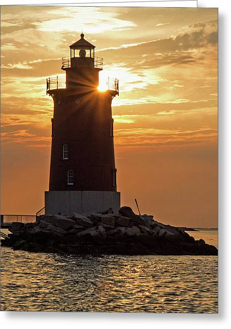 Sunset At Delaware Breakwater Light Greeting Card