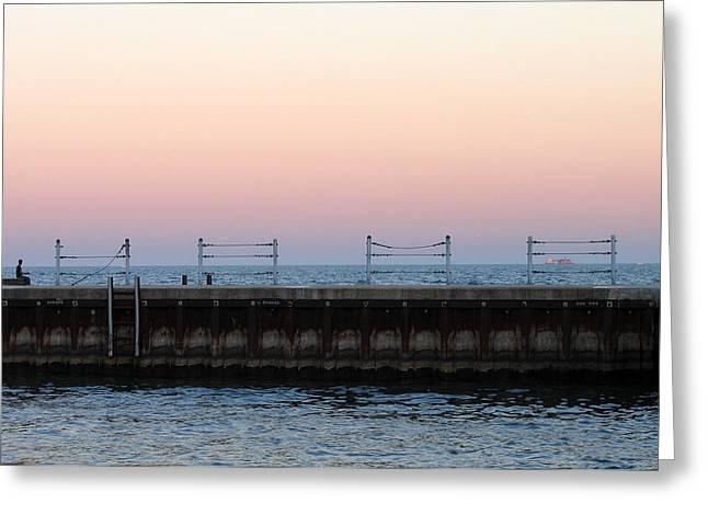 Sunset At Diversey Harbor Greeting Card