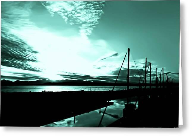 Sunset At Edmonds Washington Boat Marina 1 Greeting Card by Eddie Eastwood