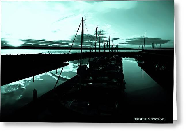 Sunset At Edmonds Washington Boat Marina 2 Greeting Card by Eddie Eastwood