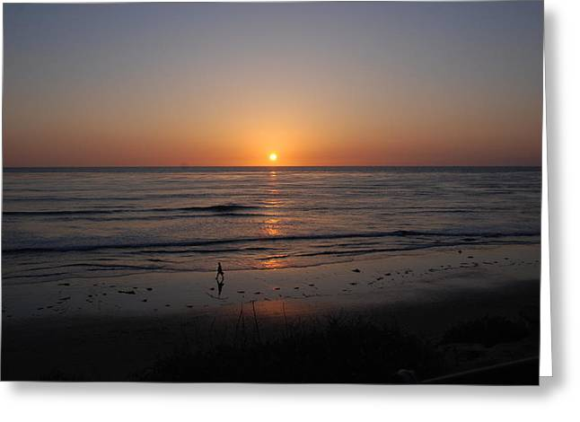 Sunset At Eljio Beach California Greeting Card by Susanne Van Hulst