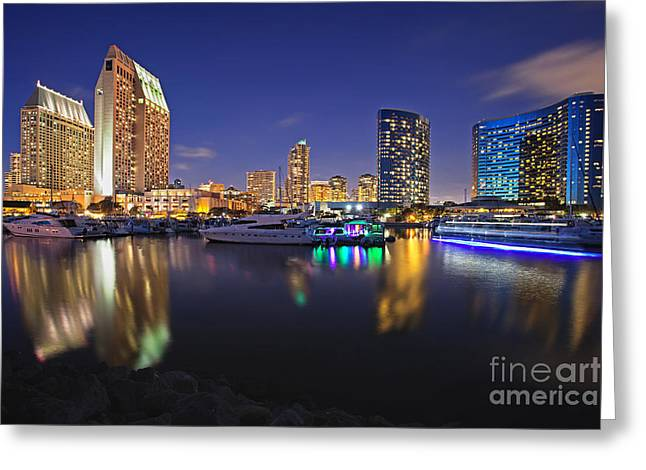 Sunset At Embarcadero Marina Park In San Diego Greeting Card