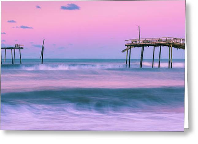 Greeting Card featuring the photograph Sunset At Frisco Fishing Pier Panorama by Ranjay Mitra