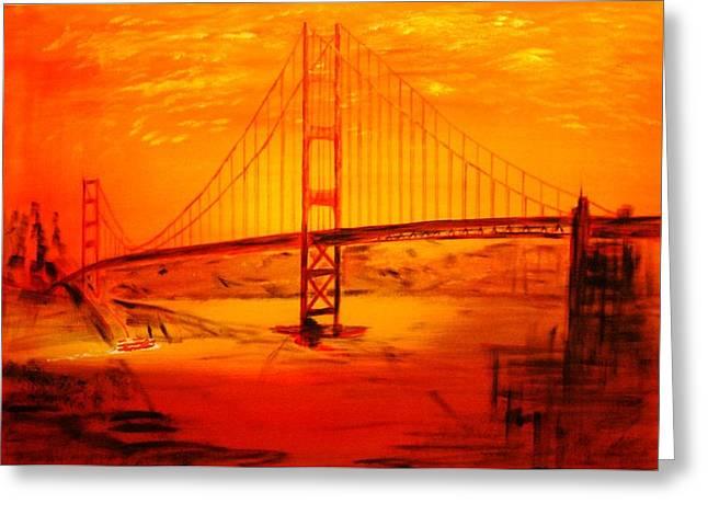 Sunset At Golden Gate Greeting Card by Helmut Rottler