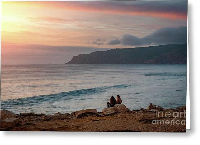 Sunset At Guincho Beach Greeting Card by Carlos Caetano