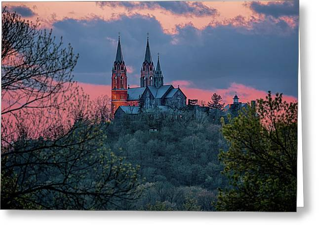 Greeting Card featuring the photograph Sunset At Holy Hill by Susan Rissi Tregoning
