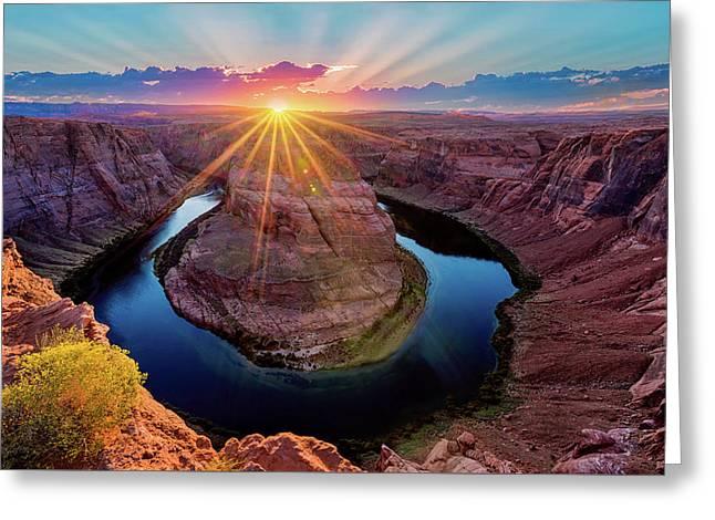 Sunset At Horseshoe Bend Greeting Card