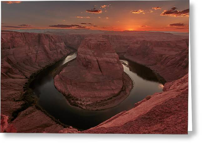 Greeting Card featuring the photograph Sunset At Horseshoe Bend by Susan Rissi Tregoning