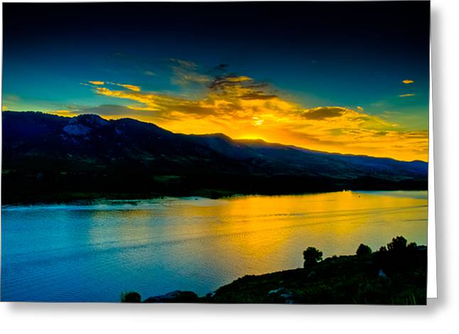 Sunset At Horsetooth Reservoir Greeting Card