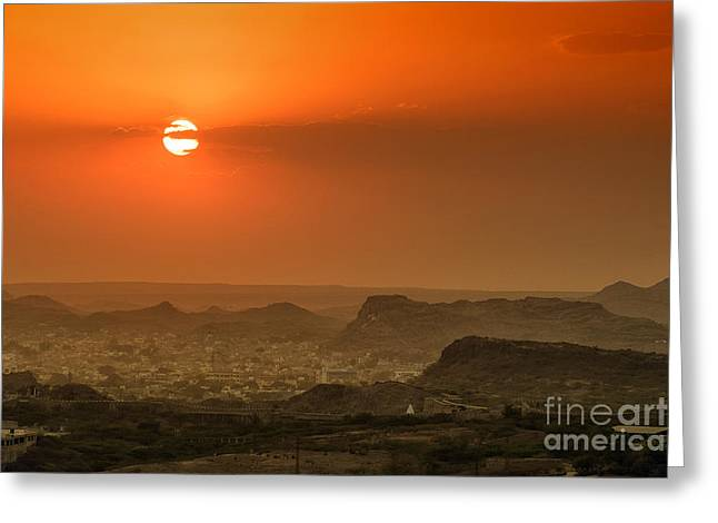 Greeting Card featuring the photograph Sunset At Jodhpur by Yew Kwang