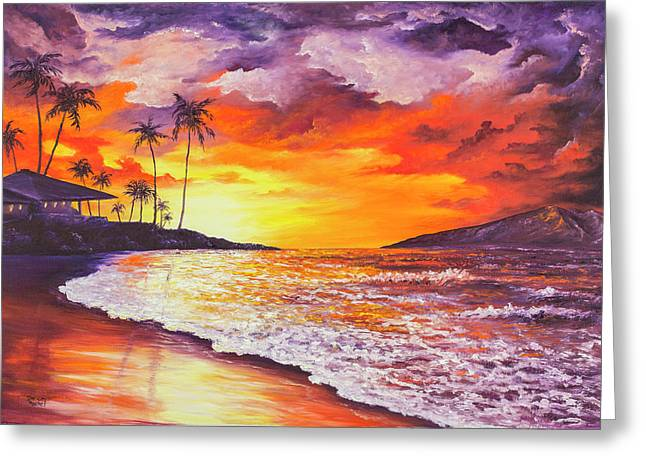 Greeting Card featuring the painting Sunset At Kapalua Bay by Darice Machel McGuire