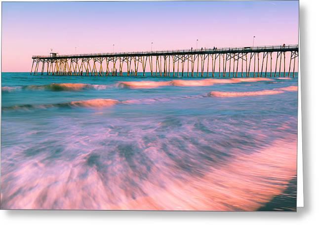 Greeting Card featuring the photograph Sunset At Kure Beach Fishing Pier Panorama by Ranjay Mitra