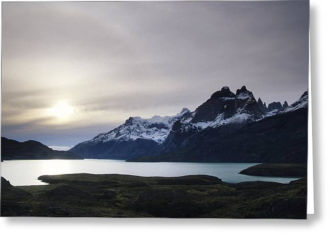Sunset At Lago Pehoe  In The Cuenos Del Greeting Card by Bill Hatcher
