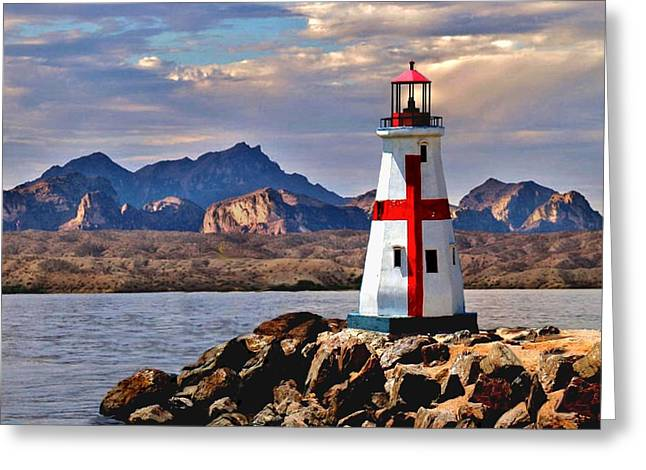 Sunset At Lake Havasu Greeting Card by Chambers and  De Forge