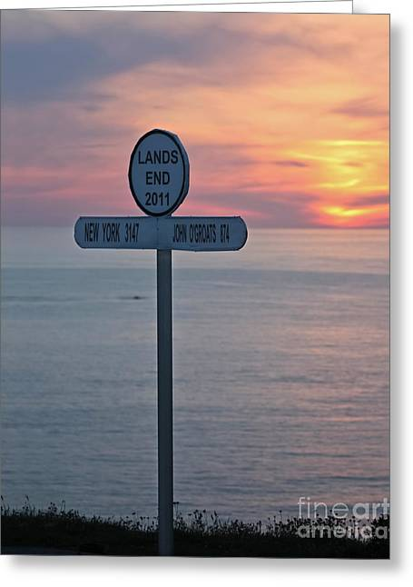 Sunset At Lands End Sign Post Greeting Card by Terri Waters