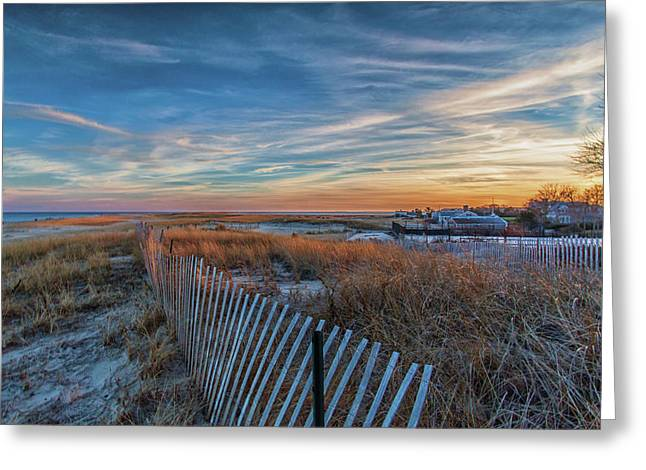 Sunset At Lighthouse Beach In Chatham Massachusetts Greeting Card