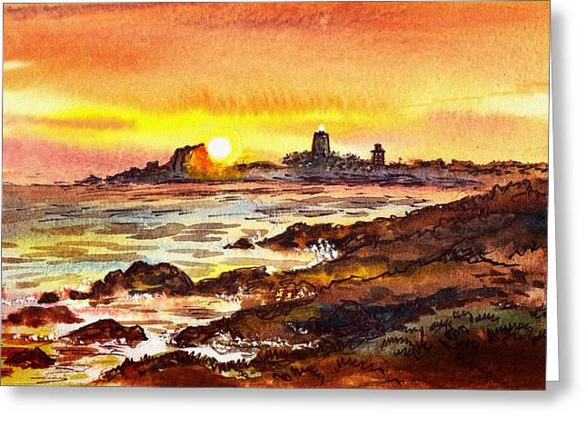 Sunset At Lighthouse Piedras Blancas  Greeting Card