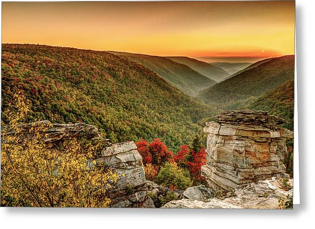 Lindy Point Sunset At Blackwater Falls State Park Greeting Card by Robert Powell