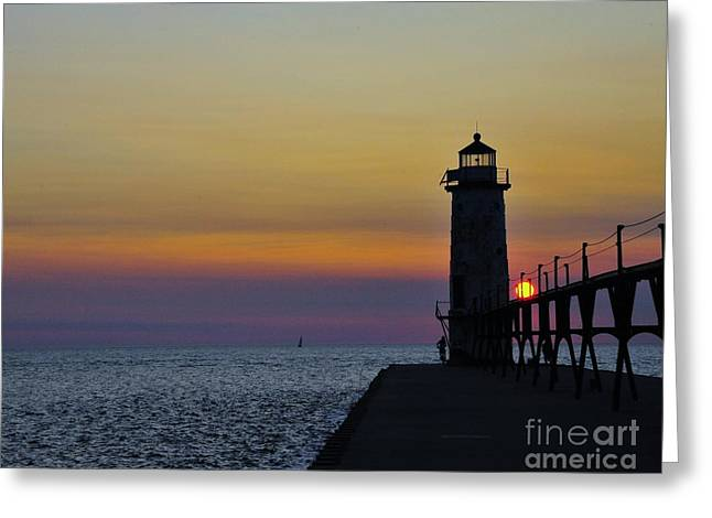 Sunset At Manistee North Pierhead Lighthouse   Greeting Card by Terri Gostola