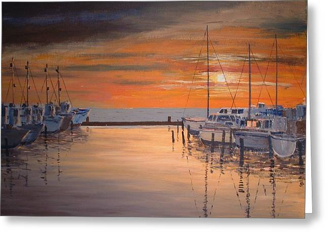 Sunset At Marina Greeting Card