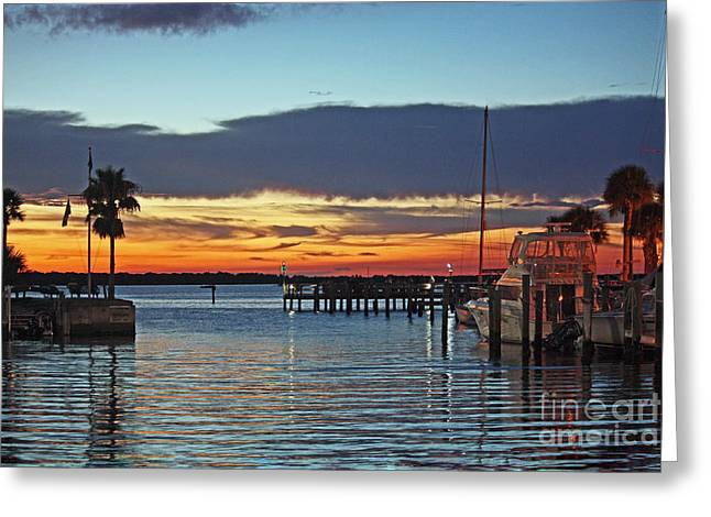 Sunset At Marina Plaza Dunedin Florida Greeting Card
